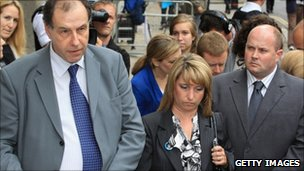 James Bulger's mother Denise Fergus and her spokesman outside the Old Bailey