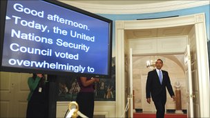 President Obama goes to make a statement on new UN sanctions on Iran (9 June 2010)