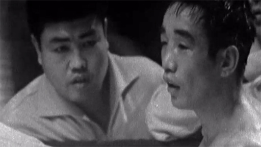 Mitsunori Seki is stopped in his fight against Howard Winstone