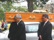 Coffin of Roy Waller, the late BBC Radio Norfolk presenter