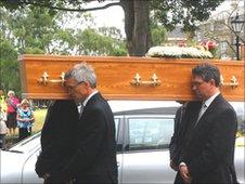 Coffin of Roy Waller, the late BBC Radio Norfolk presenter