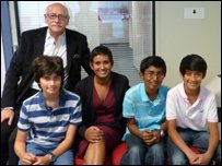 Naga meets pupils from St Martin's School: Prahalad Prasad, Jonah Surkes, Maneet Patel and Editor of OINK, Ernest Henry