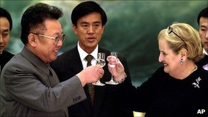 Kim Jong-il toasts Madeleine Albright in Pyongyang, 2000