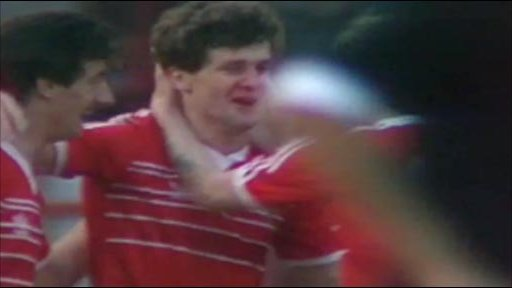 Mark Hughes celebrates his goal