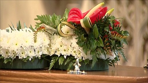 Coffin of the late BBC Radio Norfolk presenter Roy Waller
