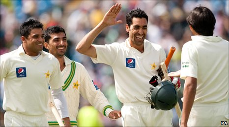 Umar Gul hit the winning run for Pakistan