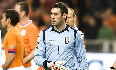 Scotland goalkeeper Allan McGregor in action against the Netherlands