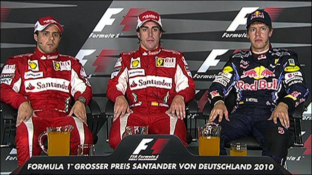 Felipe Massa, Fernando Alonso and Sebastian Vettel