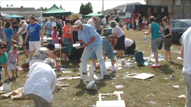 Scene after whirlwind at Cressing Fete