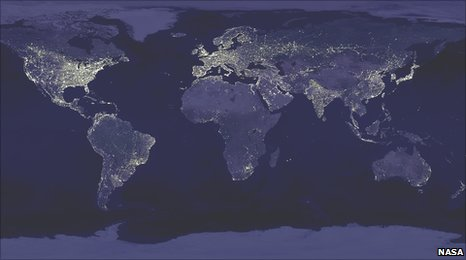 Satellite composite image of the Earth at night (Image: Nasa)