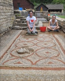 Roman mosaic being uncovered at Chedworth Roman Villa in Gloucestershire