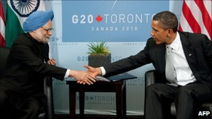 Indian Prime Minister Manmohan Singh shakes hands with US President Barack Obama at a G20 summit