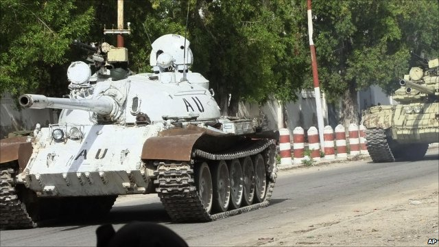 African Union tank on patrol in Somalia
