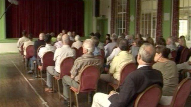 Public meeting in Llanwddyn, Powys