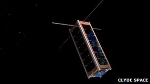 Artist's impression of CubeSat in space