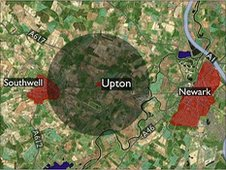 Map showing Upton in Nottinghamshire with a 1.5 mile radius marked out