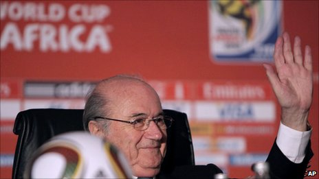 Fifa President Sepp Blatter attends a World Cup wrap-up press conference in Johannesburg [12 July 2010]