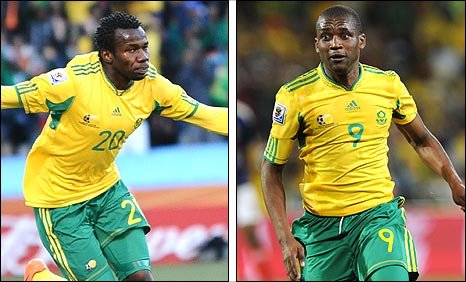 Bongani Khumalo and Katlego Mphela scored the goals that beat France in the World Cup finals