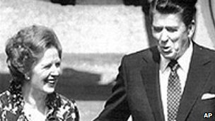 Thatcher and Reagan at Washington airport in 1983