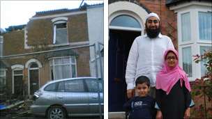 Nasir Akhtar outside his home on Alder road with his niece and son