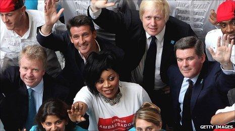 Lord Moynihan, Lord Coe, Boris Johnson and Hugh Robertson