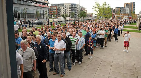 The queue for tickets outside Tallaght Stadium