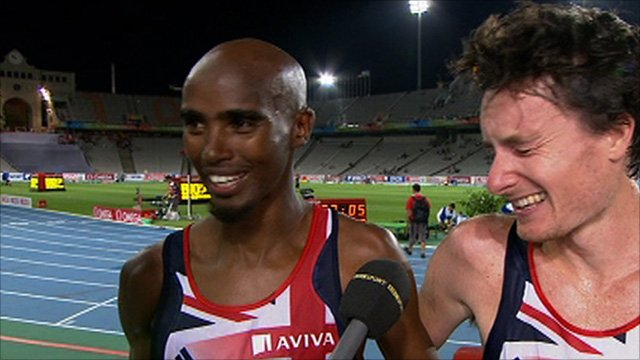 Mo Farah(l) and Chris Thompson(r)