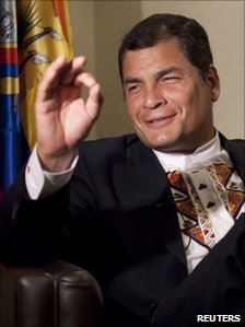 Rafael Correa in a photo from 6 July