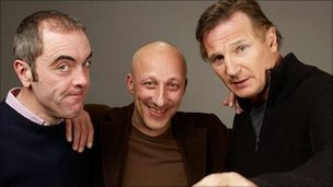 Director Oliver Hirschbiegel flanked by James Nesbitt and Liam Neeson at Sundance Film Festival