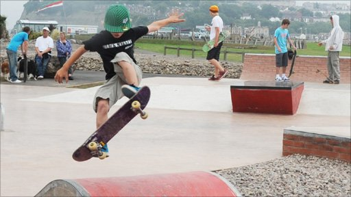 Skateboarders at the new Cardiff Skate Plaza