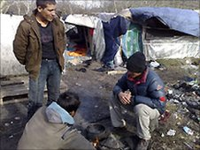Afghan migrants in a camp in Calais