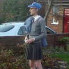 Peter Trigger dressed as a schoolgirl