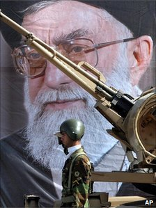 A missile displayed during a military parade in Tehran 2005