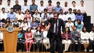 David Cameron at Infosys Technologies, Bangalore
