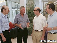 Left to right: Avram Glazer, Sir Alex Ferguson, Joel Glazer, Bryan Glazer