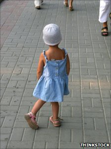 Little girl in the street