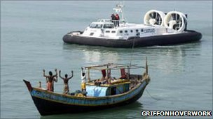 Hovercraft assisting in international emergency
