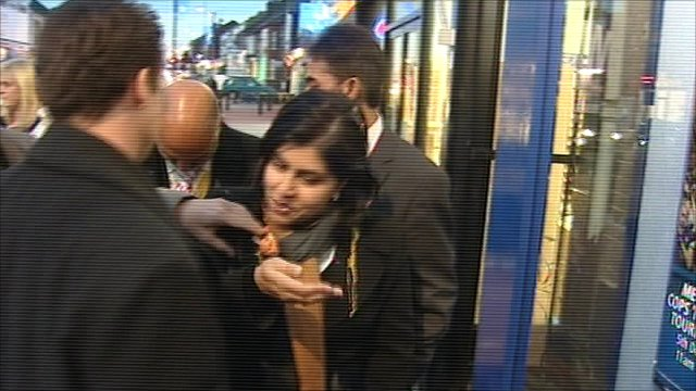 Baroness Warsi after she was hit by an egg