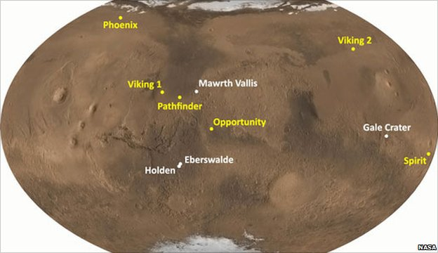 Mars map (Image: Nasa)