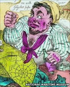 Illustration of a sailor suffering from Grog Blossom Fever