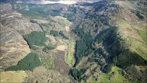Coed Cwm Mynach from the air (Pic Woodland Trust)