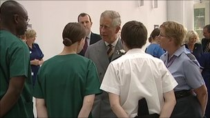The Prince of Wales with staff at the Centre for Defence Medicine