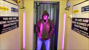 A police custody suite equipped to test for SmartWater