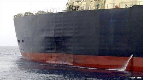 The M Star oil tanker at sea on Thursday near Fujairah port in in the United Arab Emirates