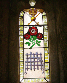 Tudor rose on church window