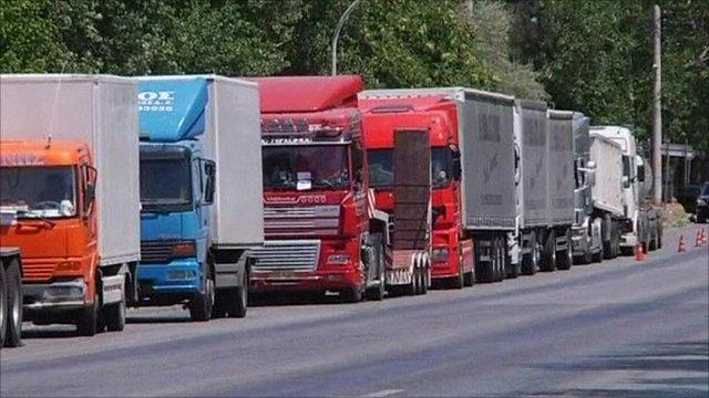Lorries in road