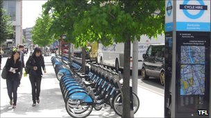 A cycle hire docking station