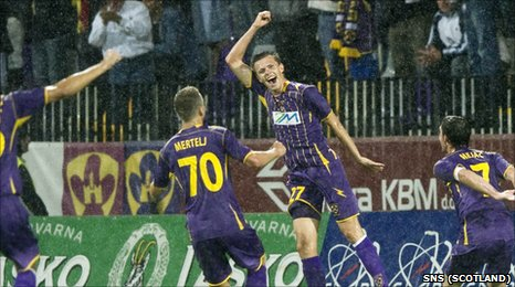 Josip Ilicic (second right) celebrates putting Maribor in front