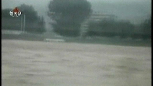 State television image of flooded land