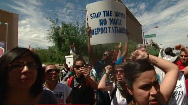 Protesters in Phoenix, Arizona
